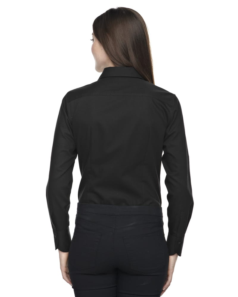 Ash City North End 78673 - Boulevard Ladies' Wrinkle Free 2-Ply 80'S Cotton Dobby Taped Shirt With Oxford Trim