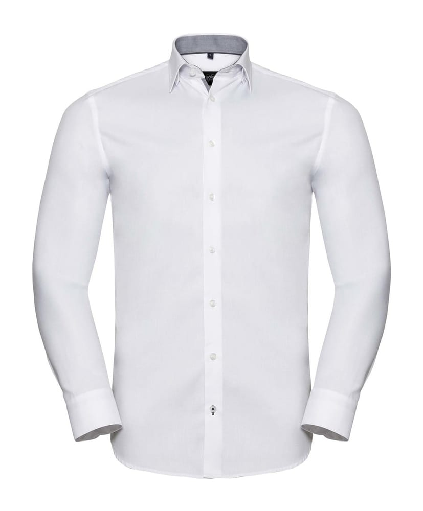 Russell Collection RU964M - MEN'S LONG SLEEVE TAILORED CONTRAST HERRINGBONE SHIRT